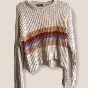 chenille ribbed crop striped colorblock sweater